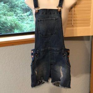 Celebrity Pink S Distressed Denim Overalls Shorts